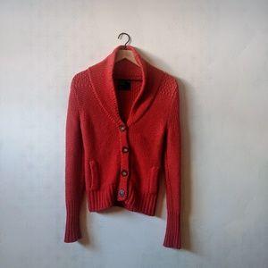 American Eagle M Red Shawl Collar Button Cardigan